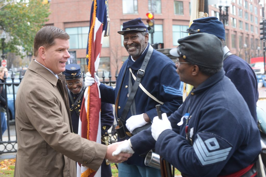 November 11, 2015 - Mayor Walsh thanked veterans before the start of the annual Veterans Day Parade in downtown Boston. (Mayor's Office Photo by Jeremiah Robinson)